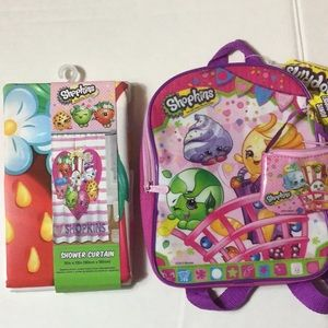 Shopkins backpack and shower curtain